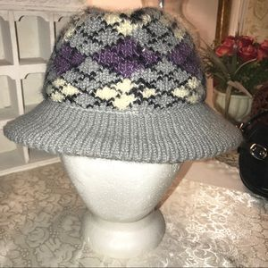 Vintage Gray Knit Argyle Hat